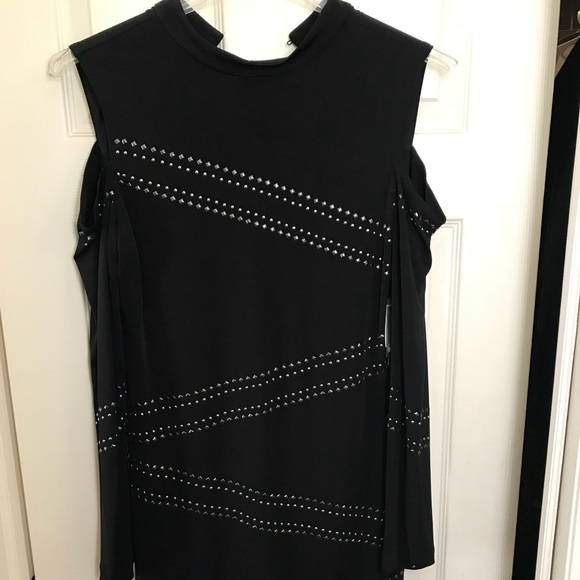 829f7b98ba3b5 Cold shoulder Dress with long arms and metal studs